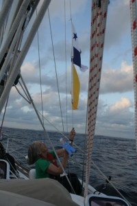 26. Anne and Flat Mr. Davis hoisted the Panamanian & Q flags with Panama on the horizon!