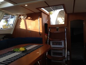 26. Joyful's saloon facing starboard aft.