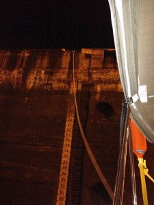 37. Joyful's stern line was attached to the top of the second Atlantic (Gatun) lock near more water level markers.