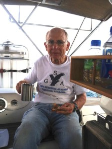 42. The morning after transiting the first 3 locks of the Panama Canal, Jeff ate breakfast on Joyful at a mooring in Lake Gatun.