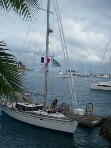 8. Joyful as seen from the balcony of the good Frenchman, Gerard, at Teiva's floating dock in Bora Bora's lagoon.
