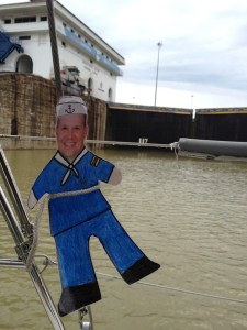 95. Flat Mr. Davis watched the water level descend in the lower Miraflores Lock.