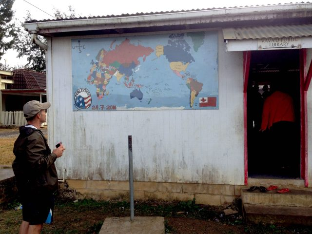 132. Sailing missionary Ken looks at the map on the side of the Vava'u library. He prayed that many children could attend the art ministry event. Ken and his family members Beatrice, Gabriella and Josh are sailing missionaries we met in Bora Bora
