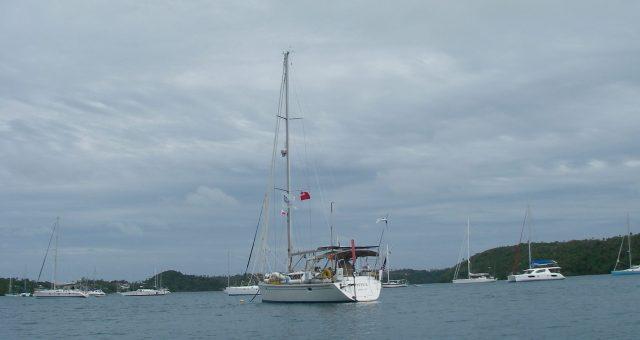 22. Joyful at her mooring on a grey day in Tonga