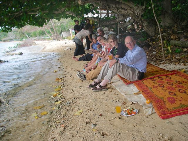 44. A kind Tongan family we knew from the school where I gave the art lesson invited us and another sailing missionary family to their home for a traditional Tongan feast. Whales and their calves were commonly seen in front of their house.
