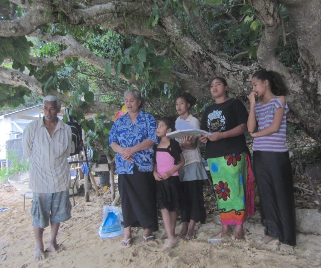 47. Soakai's family beautifully sang Christian hymns on the beach by their home to us. At sunrise, they, and many other Tongans light fires and sing hymns from the shore to awaken the King who's palace is across the water from Soakai's home
