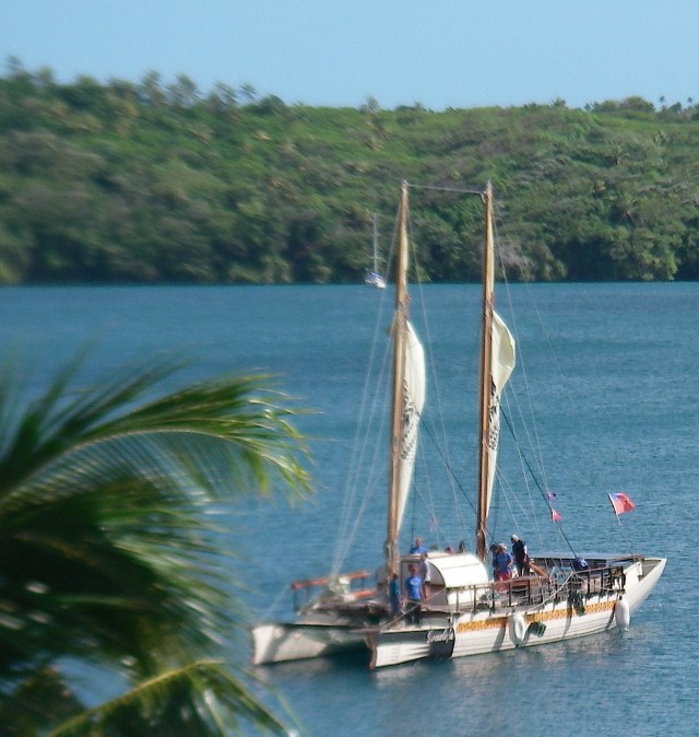 76. While in Tonga, we sailed for a few hours on the Gaualofa, a traditional Polynesian vaka. The community effort to keep the 6 vaca fleet alive, with the use of traditional Polynesian navigation, is a worthwhile endeavor to which we contributed