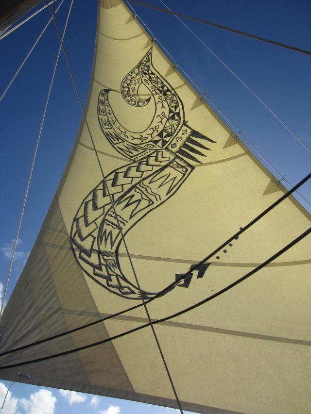 82. Ancient Samoan symbols decorate the Gaualofa's sails
