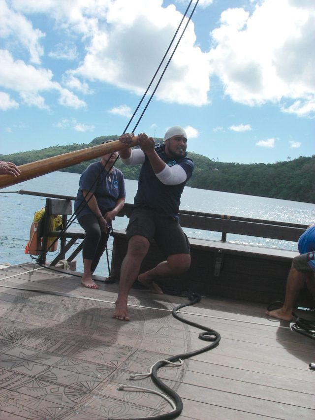84. This powerful young Samoan volunteered to take the helm of the vaka. Each of the volunteer Polynesian crew rotated their posts in order to learn everything about the vakas.