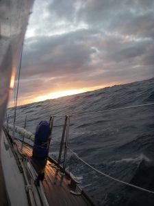 46. The beautiful sunset reflected off of Joyful's deck