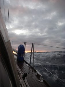 52. A sunset view in rough seas