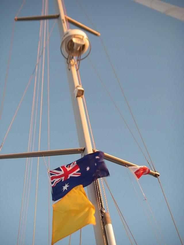 68-while-at-the-australian-customs-dock-in-mackay-joyfuls-australian-courtesy-and-quarantine-flags-flew-with-the-maikai-yacht-club-pennant-bora-bora