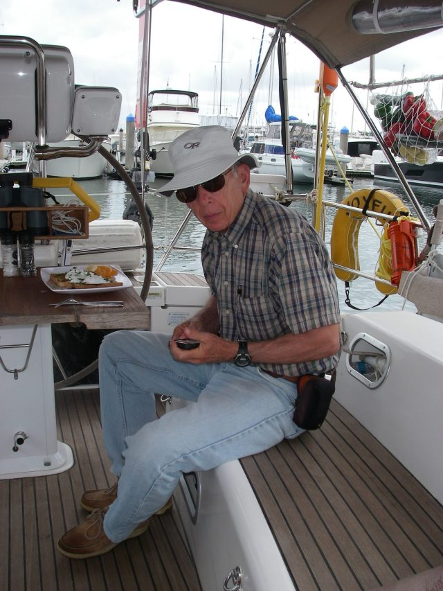24. Jeff enjoyed eating the delicious breakfast Rod made us in Joyful's cockpit