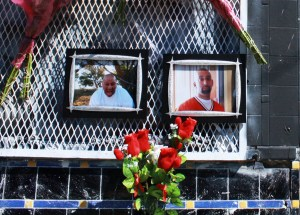 Memorial for Cornejo and Peña shortly after their murders in September. (Rosa Ramirez)
