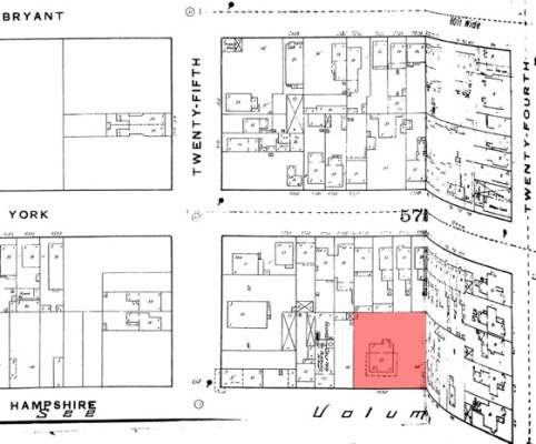 In 1889, Sanborn Fire Insurance Co. produced this map, showing properties and structures in the South Mission. Some historians surmise Treat's home was relocated an estimated 100 feet from its original spot during the latter 19th century to conform to the grid-style layout of traditional neighborhoods (home plot highlighted in red) Map courtesy of San...