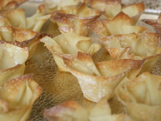 Though not a Mexican ingredient, won ton wrappers served as sturdy shells for things like taquito cups.