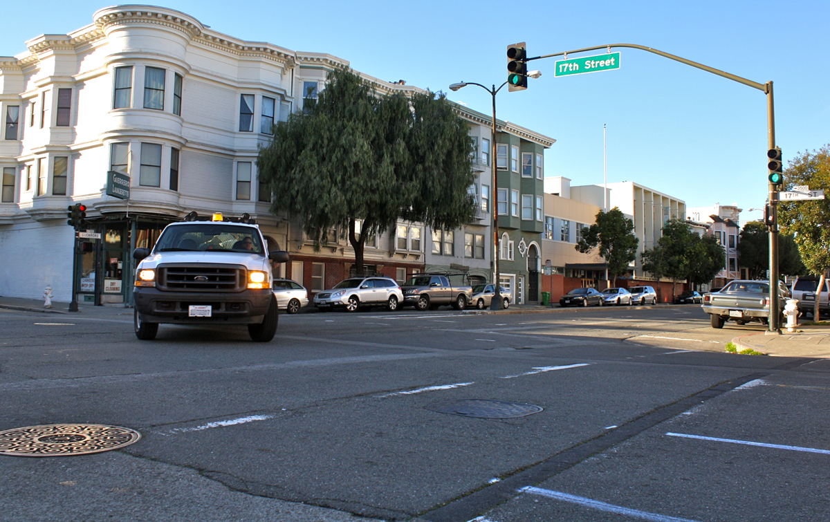 The Guerrero Street crosswalk where an elderly woman was hit by a vehicle making a left turn onto 17th Street yesterday.