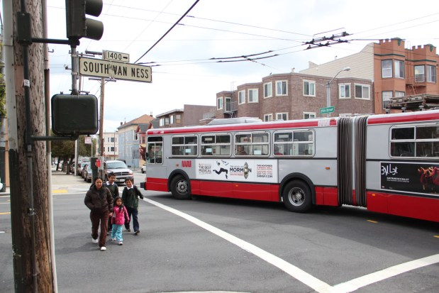 Construction on Mission Street in San Francisco that began in March has rerouted buses onto South Van Ness Avenue. The Muni lines affected by the reroutes are the 49 and 14. Photo by Sandy Lopez