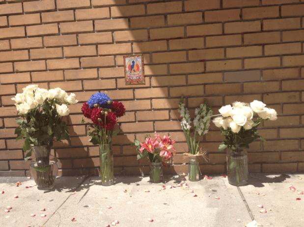 A memorial sprung up near the site of the incident on Monday.