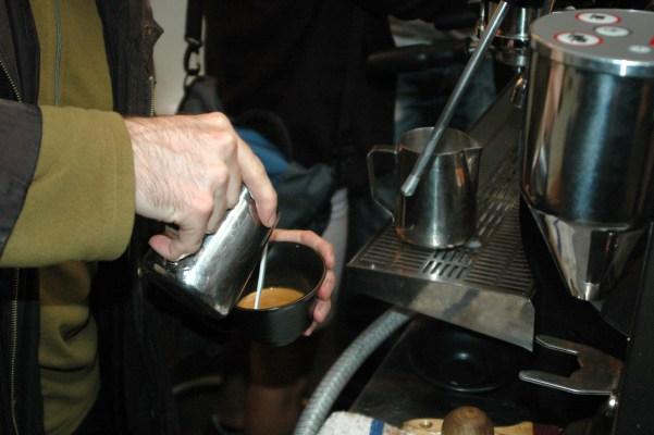 Pouring a latte.
