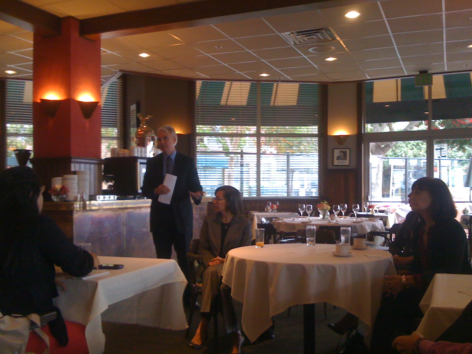 District Attorney George Gascón talks about his office's neighborhood courts system Wednesday morning at Delancy Street Restaurant. Photo by Carly Nairn.