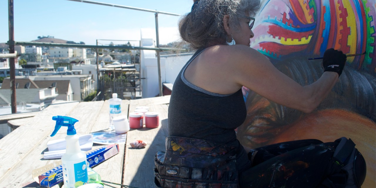 """Painters Scale Women's Building to Restore the """"MaestraPeace"""" Mural"""
