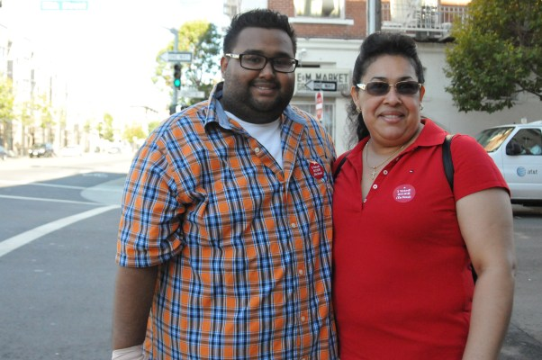 San Francisco voters Xavier and Conny spotted on 16th and Valencia streets. Photo by Yousur Alhlou.