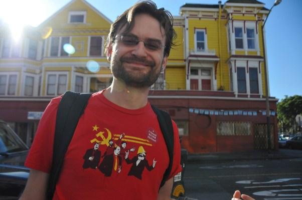 "Joshua Pollak baring his ""I Voted"" sticker. Photo by Alejandro Bryan Rosas."