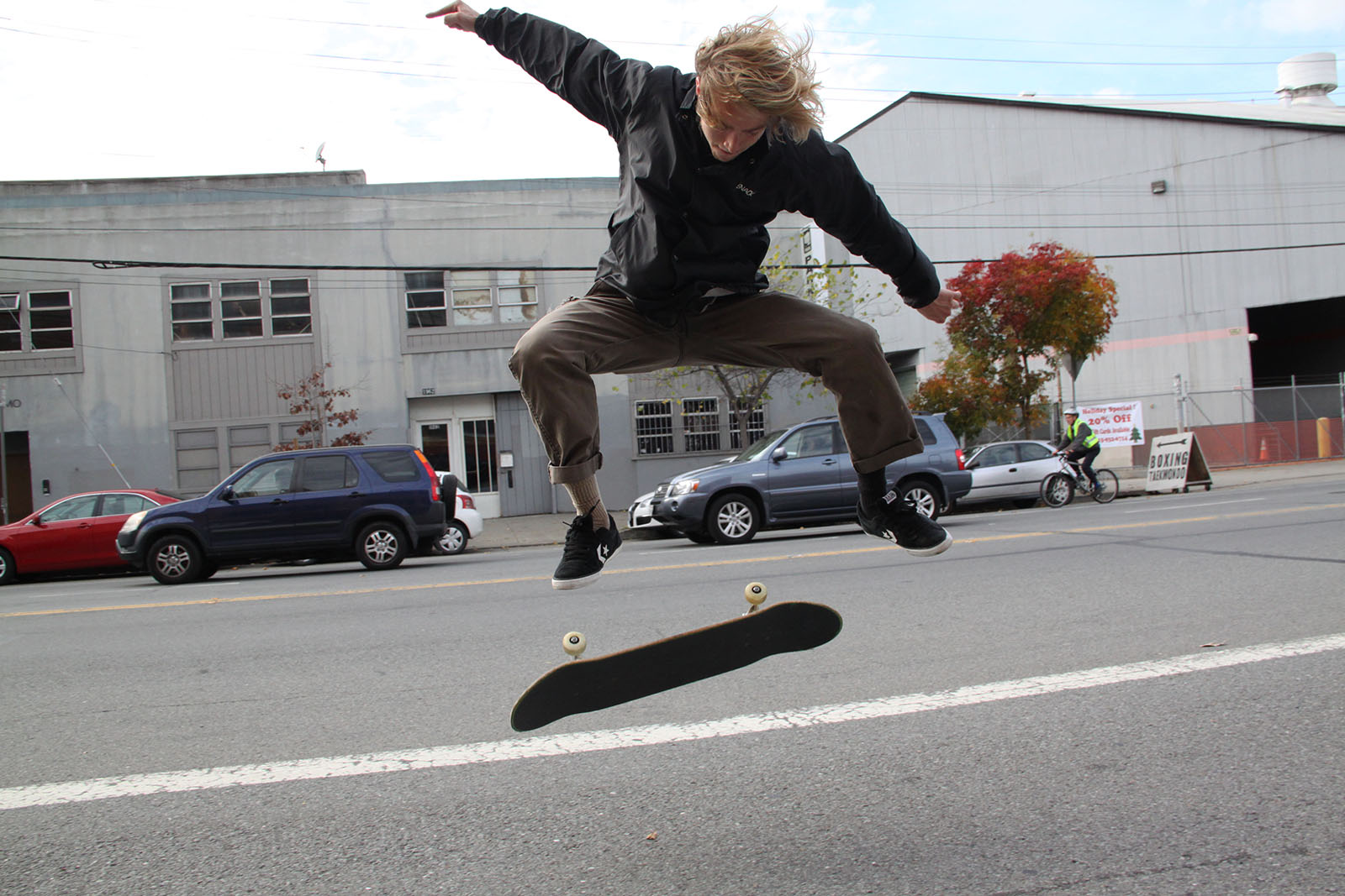 Man skates in the Mission.