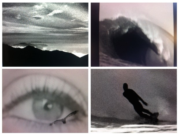 Image shows four stills from the film Ode to California.