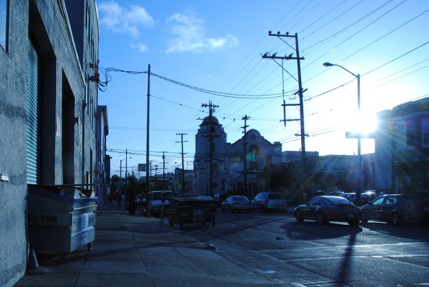The sun shines brightly on 17th Street this morning.