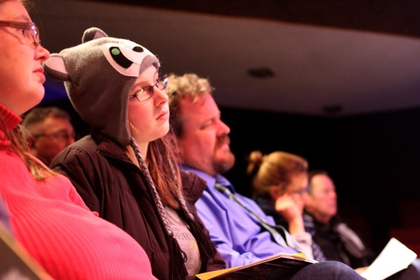 Audience members listent intently during The Marsh Monday Series, which features four 15-minute solo performances each week.