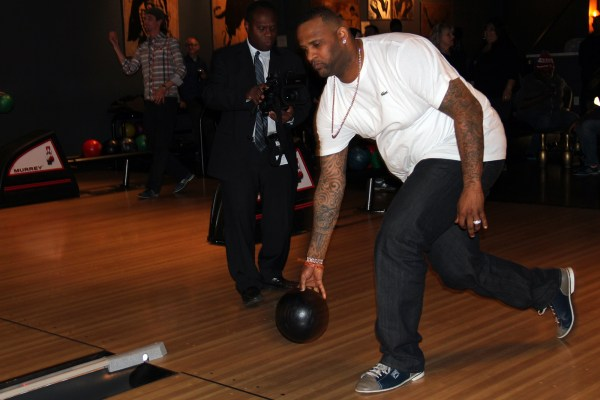 Yankees starting pitcher CC Sabathia bowls at Mission Bowling Club.
