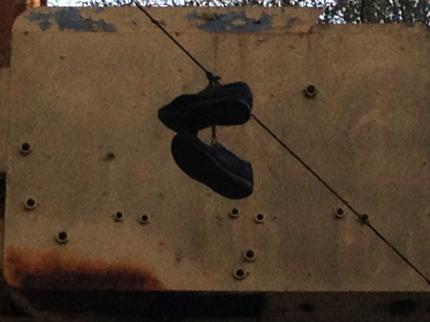 Shoes hung on a telephone line on Folsom Street.