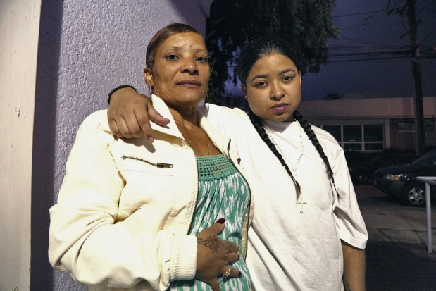 Elvira Zayas on the day she was released from jail, with her mother Elvira Zayas. Photo by Jean Melesaine.