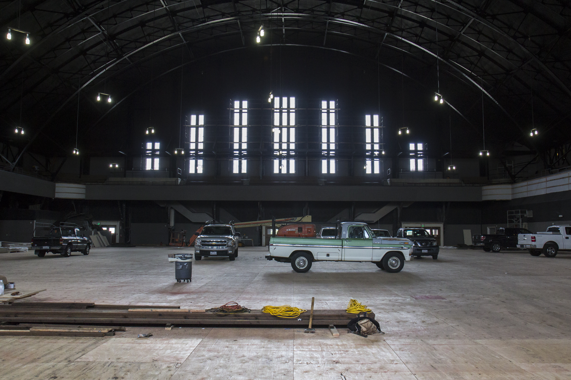 Workers are adapting the over 40,000 square feet area to its new purposes.