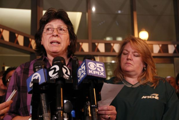 SEIU 1021 President Roxanne Sanchez, left, has been a major player in union negotiations for BART workers. Photo by Yolanda Martinez.