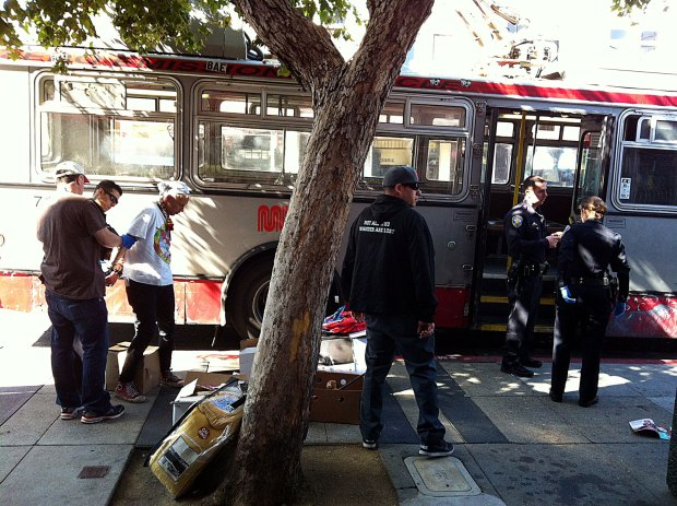 Suspect arrested at 22nd and Mission after allegedly starting a fight on a MUNI bus.