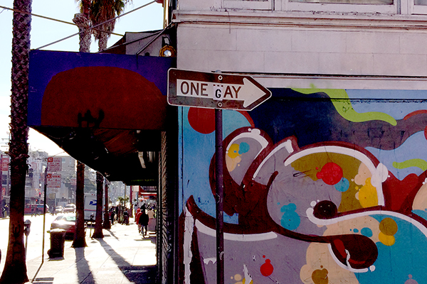 An altered street sign on Mission Street. Photo by Alexandra Garretón.