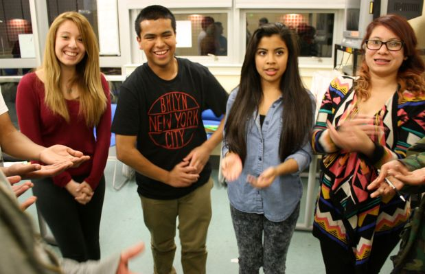Students of New ERA play an ice breaker game. Photo by Daniel Hirsch.
