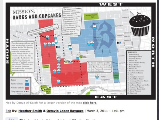 Gangs and Cupcakes, one of our many map projects to get readers to look at the Mission in a new way.