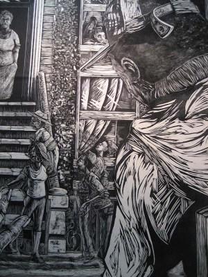 Detail David Tim woodcut. Photo by Paul Mullowney
