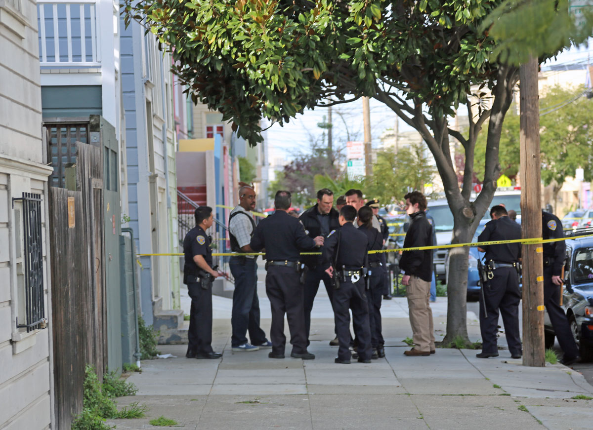 Officers discuss situation