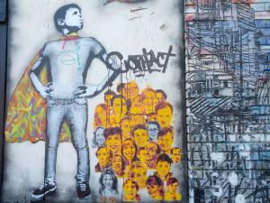 Closeup of street art on Inner Mission's exterior.