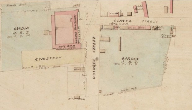 """Survey of Mission Dolores 1854 <a href=""""http://content.cdlib.org/ark:/13030/hb2v19n7v6/?query=mission%20district&brand=calisphere"""">UC Berkeley</a>"""