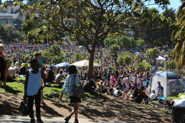 Thousands gathered at Dolores Park for the annual Dyke March on Saturday. Photo by Leslie Nguyen-Okwu
