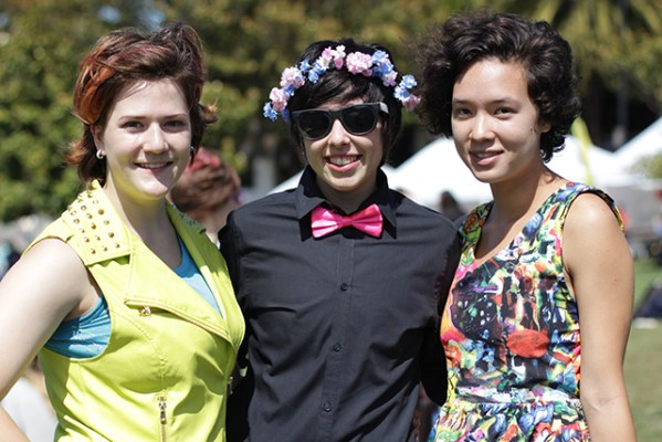 Three friends from the East Bay celebrate at Trans March. (Photo by Claudia Escobar)