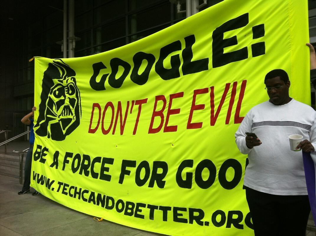 Sign outside of Google I/O protest in June 2014. Photo by Leslie Nguyen Okwu.