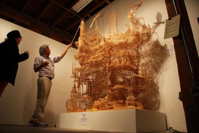 Artist Scott Weaver at Root Division group show in 2009. Photo by Steve Saldivar.