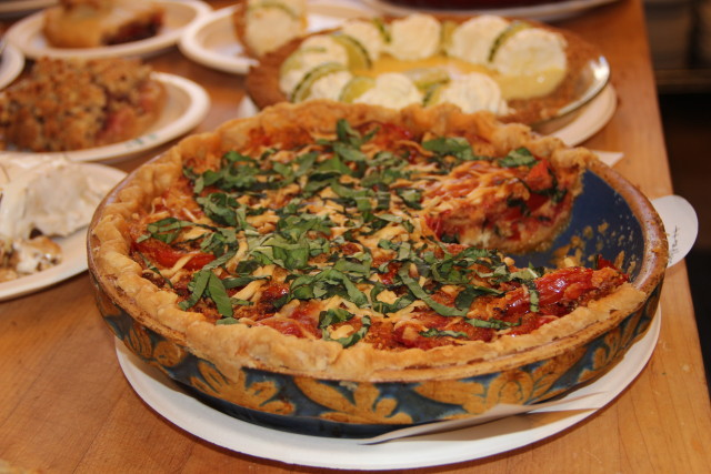 The lone savory entry: A tomato pie by Peter Shypertt. Photo by Joe Rivano Barros.
